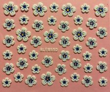 Nail Art 3D Decal Stickers White Flowers with Blue & Gold Accents BLE655D