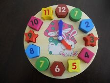 WOODEN SHAPES 'N'  NUMBERS CLOCK PUZZLE