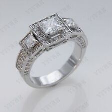 Gold Finish Three Stone Engagement Ring 2.00ct Princess Cut Diamond 10k White