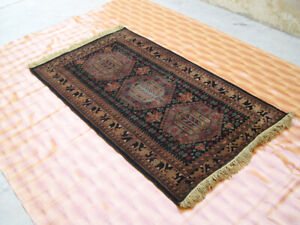 Floor Mat Oriental Carpet Rugs Hand Knotted 3x5 ft Afghan Black Color LivingRoom