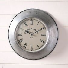 Colonial new round weathered gray tin wall clock / nice