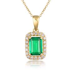 Birthstone Natural Bailliant Diamonds Emerald Pendant 14k Yellow Gold For Women