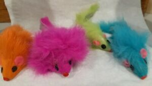 """Mouse Cat Toy -   Fur Mice 2"""" Long - pastel neon lot of 50"""