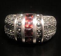 Vintage Sterling Silver Ring 925 Size 6 NF Thailand Red Garnet Marcasite Band