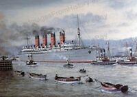 8x10 Print RMS Mauretania Cunard Line 1907 Illustration #RMSM