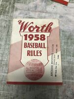 Vintage Worth 1958 Baseball Rules Worth Official League