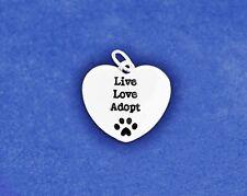 Pet Adoption Charm Live Love Adopt Pendant Paw Print Cat Dog Animal Rescue Lover