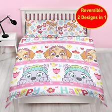 NEW PAW PATROL DOUBLE DUVET QUILT COVER BEDDING SET GIRLS KIDS PINK BED BEDROOM