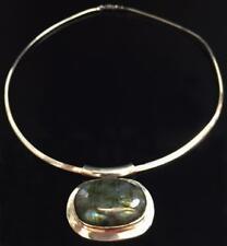 Labradorite, Oval Cabochon Bezel Set Pendant on Sterling Silver Omega Necklace