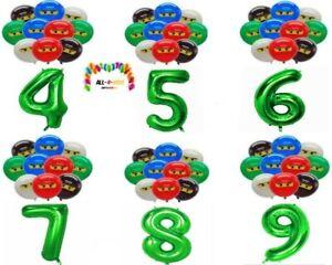 Ninjago Folienballon 11x mit Zahlen, Party, Geburtstag, Deko, Feier,Ballons Grün