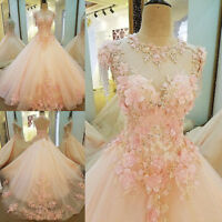 Flower Romantic Formal Wedding Ball Gown Applique Prom Pageant Quinceanera Dress