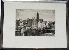 Gravure eau forte Strasbourg début 20ème Alsace