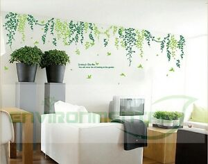 Birds Leafs Green 57*20in Room DIY Wall Art Stickers Decor Vinyl Decal Removable