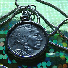 "Classic 1936 Buffalo Nickel of the USA on a 28"" 925 Sterling Silver Chain"