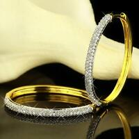Ohrringe Creole oval Zirkonia weiss 750er Gold 18 Karat vergoldet gelbgold O2648