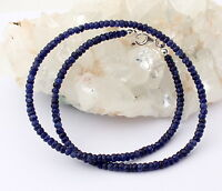 Saphir Kette edelsteinkette Fecettierte Rondell blau Collier saphire Edel 46 cm