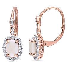 14k Rose Gold Opal White Topaz & Diamond Halo Leverback Drop Dangle Earrings