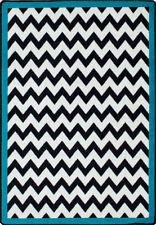 "5x8 Milliken Vibe Border Turquoise Modern Chevron Area Rug - Approx 5'4""x7'8"""
