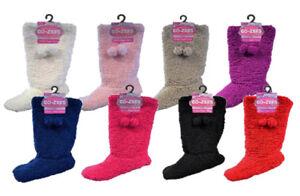 New Women's Co-Zees Sherpa Pom-Pom Detail Luxury Soft Gripper Slipper Boots