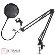Desktop Table Microphone Stand + popfilter / Boom Mic Scissor Arm Podcast Studio