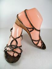Etienne Aigner 9 M Brown Leather Sandals Wedge Strappy Open Toe
