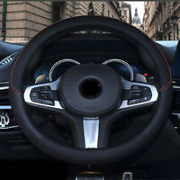 38CM Black Carbon Fiber PU Leather Car Steering Wheel Cover Breathable Non-slip