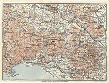 Carta geografica antica MONTI AURUNCI ROCCAMONFINA TCI 1928 Old antique map