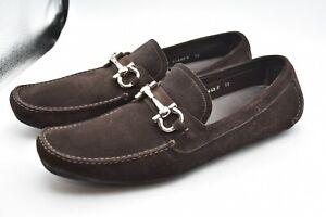 Salvatore Ferragamo Parigi Gancini Suede Brown Shoes MEN'S SZ 12 B