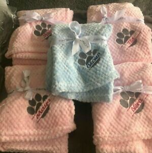 PERSONALISED DOG/PUPPY waffle FIRST BLANKET paw print  EMBROIDERED