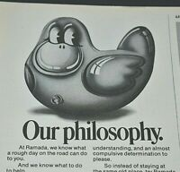 Ramada Inn Hotel Philosophy Rubber Ducky Travel Reputation 1976 Vintage Print Ad