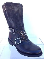 Women's Giove Leather Studded Ankle Boots Brown Size EU 37