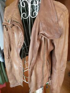 Danier Women's Leather Jacket Size US 3XS / UK 4 Brown Bomber