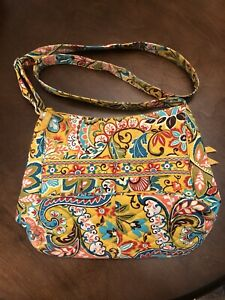 Vera Bradley Multi Floral Yellow Crossbody Shoulder Satchel Handbag
