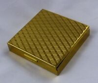 "Vtg 2-1/4"" Square Textured Goldtone Metal Compact with Powder Puff & Mirror"