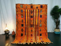 Boujad Moroccan Vintage Handmade Rug 4'8x6'4 Berber Abstract Orange Wool Carpet