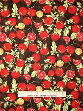 Italian Food Fabric - Tomato Vine Ripe Kitchen Brown Wilmington #33769 - Yard