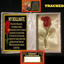MY SOULMATE VERSE GLASS ROSE IN SATIN BOOK CHRISTMAS GIFT I LOVE YOU ONE CARD