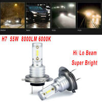H7 LED Headlight Bulb Conversion Kits Hi/Lo Beam 55W 8000LM 6000K Super Bright