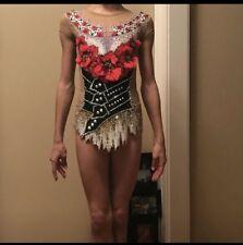 Rhythmic Gymnastics Girls Competition Leotard Sz 11-13 Years W/ 3D Flowers Used