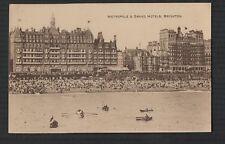 BRIGHTON Metropole & Grand Hotels rowing boat  vintage postcard unused    zc.257