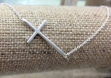"""925 Sterling Silver Sideways Cross Womens Pendant Necklace 16""""-18"""""""