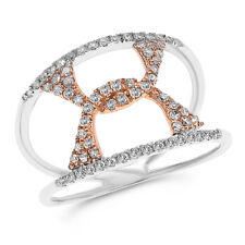 Round Diamond Cocktail Right Hand Ring Wide 14K Rose White Gold Pave