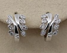 18K White Gold Filled - 2-Layer Leaf Topaz Zircon Hoop Women Gemstone Earrings