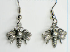 Pewter Charm Earrings Bee Surgical Steel Earwires