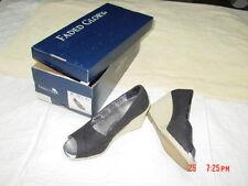 NWT NIB Womens Black Sandal Wedge Peep Toe Unused Unworn Comfort Fashion Foot
