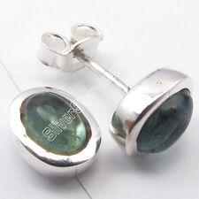 """.925 Solid Silver 5x7 MM Oval GREEN APATITE EXQUISITE Stud Post Earrings 0.4"""""""