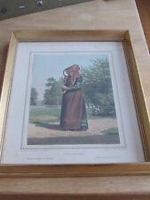 A woman from Falster   F C Lund Lithograph DENMARK  Framed   En Kone fra Falster