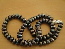 8mm A+ Black Freshwater Cultured Pearl Necklace -nk60