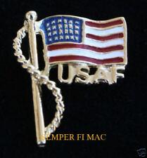 US AIR FORCE SCRIPT USA FLAG HAT PIN AFB USAF PILOT PROMOTION GRADUATION GIFT
