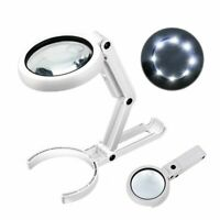 5/11X Magnifying Glass Reading Magnifier with 8 LED Light Fold Stand Table Loupe